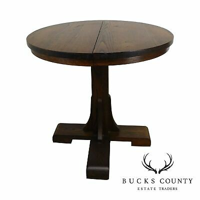 Salesman Sample Antique Round Oak Dining Table W/ 2 Leaves