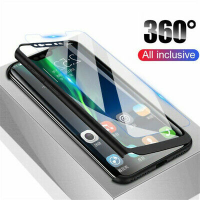 360° Full Protection Cover Case + Tempered Glass For Xiaomi Redmi Note 7 6 5 Pro