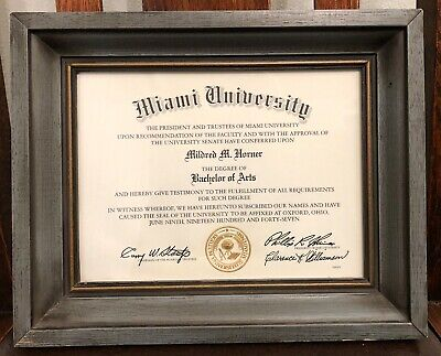 Miami University (Oxford, Ohio) Framed Bachelor of Arts Degree Certificate 1947