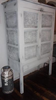 19thca Antique Primitive WHITE Pie Safe FARM WEDDING PROP farmhouse AAFA 12 tins