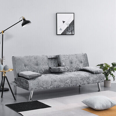 Modern 3 Seater Click Clack Sofa Bed with Cup holder Recliner Settee Couch Home
