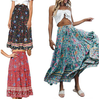 Womens Boho Floral Print High Waist Maxi Dress Pleated Skater Flared Midi Skirt