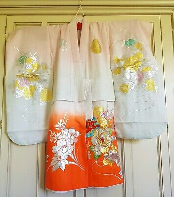 Beautiful Vintage Japanese Silk Orange Pink Gold Embroidered Girl's Kimono