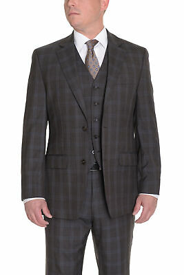 Mens 38R Michael Kors Modern Fit Brown Plaid Two Button Wool Suit