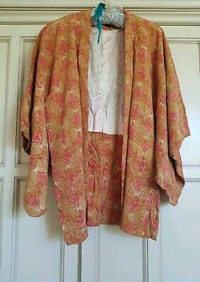 Genuine Vintage Japanese Silk Women's Jacket Orange Pink Design circa 1950's