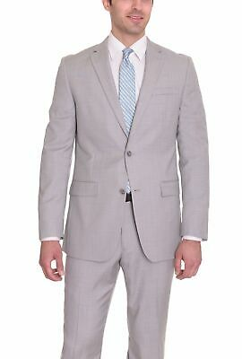 Mens 40L Bar III Slim Fit Light Gray Neat Textured Two Button Wool Suit