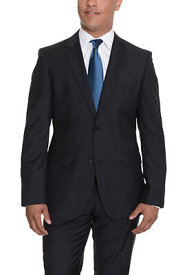 Mens 38R HUGO BOSS The Grand/Central Black Striped Two Button Wool Suit