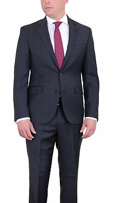 Mens 44L DKNY Skinny Slim Fit Charcoal Gray Plaid Two Button Wool Suit