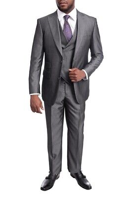 Mens 38L Emigre Extra Slim Fit Gray Twill Sharkskin Three Piece Suit With Pea...