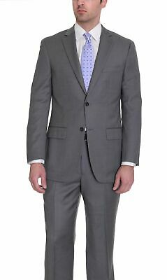 Mens 42R Zanetti Classic Fit Charcoal Gray Birdseye Two Button Wool Suit