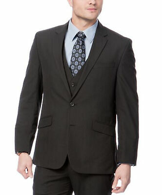 Mens 40L Kenneth Cole Regular Fit Black Pinstriped Two Button Three Piece Suit