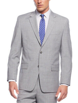 Mens 42S Michael Kors Regular Fit Solid Light Gray Two Button Wool Suit