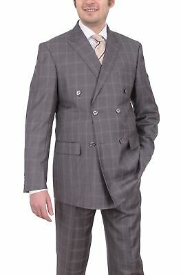 Mens 50L Lorenzo Bruno Classic Fit Gray Plaid 6-on-2 Double Breasted Suit