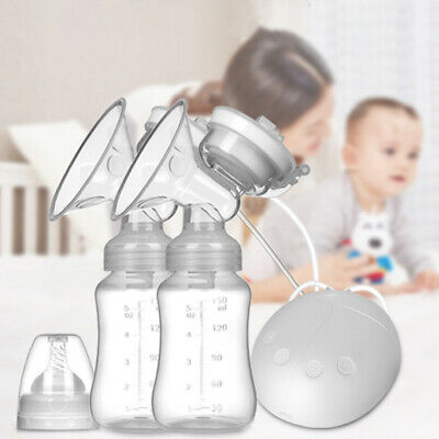 USB Electric Handfree Double Breast Pump Baby Feeding Feeder With Milk Bottle