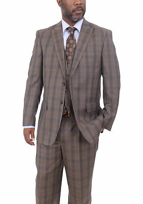 Mens 48R Steven Land Classic Fit Brown & Blue Plaid Three Piece Wool Suit