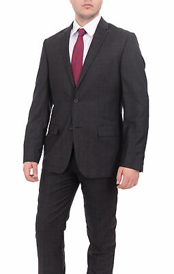 Mens 40R Dkny Slim Fit Charcoal Gray With Purple Windowpane Two Button Wool F...