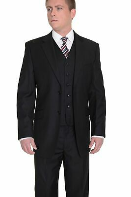 Mens 64R Classic Fit Solid Black Two Button Three Piece Wool Suit