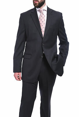 Mens 38S Bruno Piattelli Classic Fit Charcoal Gray Pinstriped Two Button Wool...