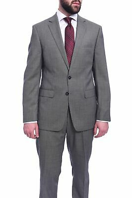 Mens 42L Calvin Klein Extra Slim Fit Gray Birdseye Two Button Wool Suit