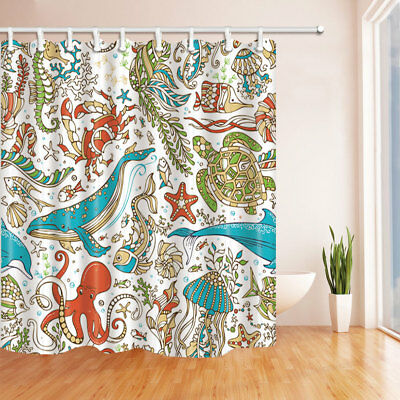 Turtle Whale Octopus Decor Fabric Shower Curtain Bathroom & 71inches With Hooks
