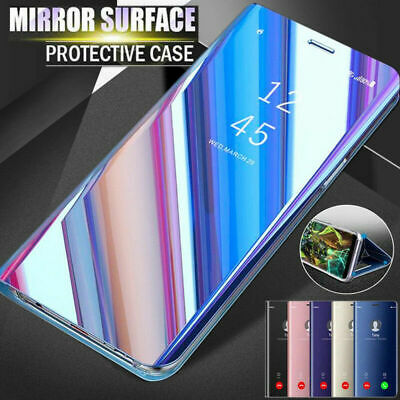 For Samsung S10 Plus S9 S8 Note 8 Case Clear View Mirror Flip Stand Hybrid Cover