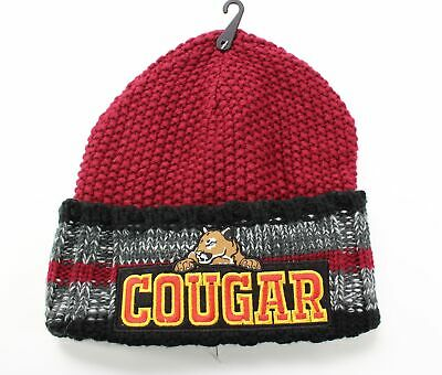 New Collection 18 NEW Dark Red One Size Textured Knit Cougar Cuffed Beanie #131