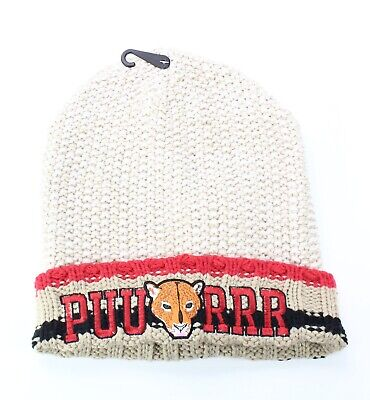 """Collection 18 NEW Beige Red Women's One Size """"PUURRR"""" Cuffed Knit Beanie #341"""