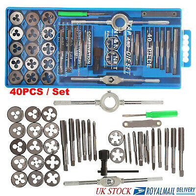 40PCS Professional Metric Tap Wrench And Die Set Cuts M3-M12 Bolts + Case UK AN