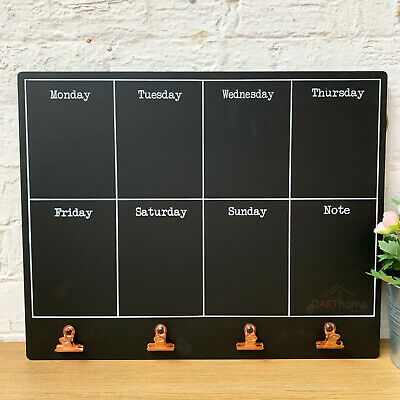 Wall Mounted Weekly Meal Menu Planner Memo Notes Message Chalkboard Copper Clips