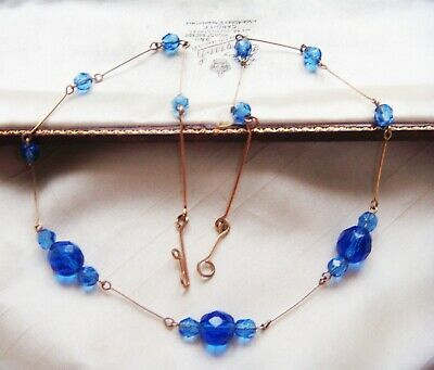 VINTAGE ART DECO JEWELLERY Vivid SAPPHIRE CRYSTAL Rolled Gold Filled NECKLACE