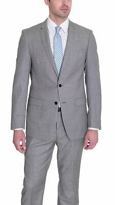 Mens 38R Dkny Slim Fit Black White Stepweave Two Button Wool Suit