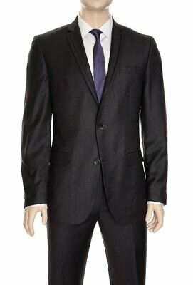 Mens 46R Bar III Slim Fit Charcoal Gray Textured Two Button Wool Suit