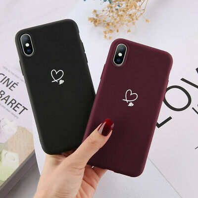 For iPhone Xs Max XR 8 7 6S 5 Ultra Slim Case Matte Heart Protective Phone Cover