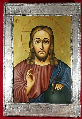 Antique Russian Orthodox hand painted icon 19th century of Jesus Christ.