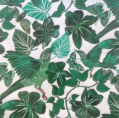 3 Paper Napkins for Decoupage / Parties / Weddings - Green jungle