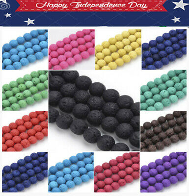 Choose Color!Natural Lava Gemstone Round Loose Beads 6/8/10mm For Jewelry Findin