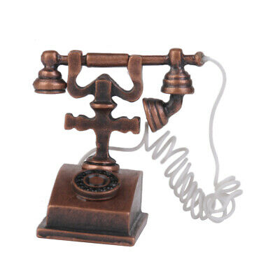 1/12Dollhouse Miniature Retro Metal Phone Telephone Model Brown Bedroom Accs