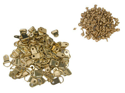 100pc D-Rings + Screws for Picture Framing Frame Fixings Hanging Hanger Gold