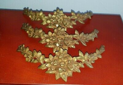 Antique Vtg FRENCH BRONZE ORMOLU FLOWERS  SWAG GARLAND Ornament x 3