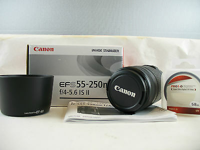 Canon EF-S 55 - 250mm    f:4 - 5.6 IS II  new with  UV filter +  hood