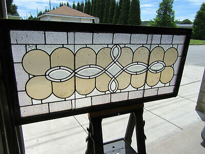~ Antique Stained Glass Window With Bevels ~ 63 X 28.75 ~ Architectural Salvage