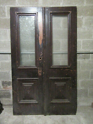 ~ ANTIQUE DOUBLE ENTRANCE FRENCH DOORS ~ 47.75 x 79 ~ ARCHITECTURAL SALVAGE