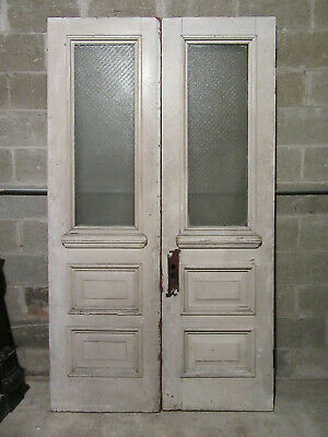 ~ ANTIQUE DOUBLE ENTRANCE FRENCH DOORS ~ 47.75 x 82.5 ~ ARCHITECTURAL SALVAGE