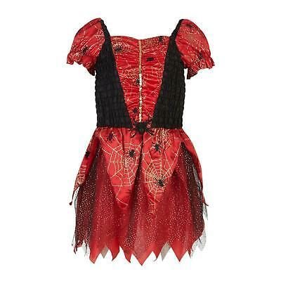 Girls fancy dress Halloween red spider dressing up costume cobweb tutu party