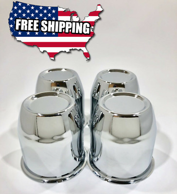"4 Push Through Chrome Center Caps Fit 3.18"" Center Bore Trailer Weld Draglite"