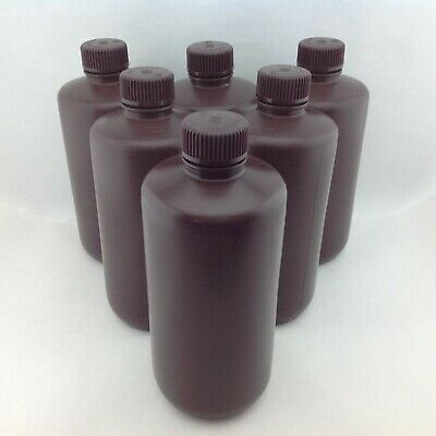 Nalgene HDPE Amber Narrow Mouth Bottle 500mL Bag of 6