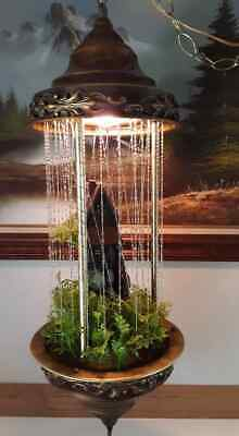 Vintage Grist Waterwheel Hanging Swag Motion Rain Lamp