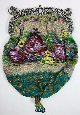Lovely Antique Victorian Rare Teal Micro Beaded Floral Purse Reticule C 1850