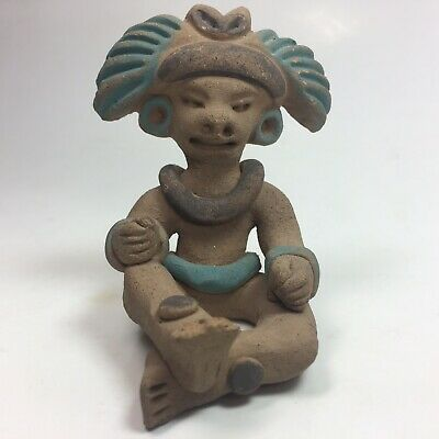 Pre-Columbian Mayan Polychrome Pottery Figure Seated Lord Effigy Ceremony