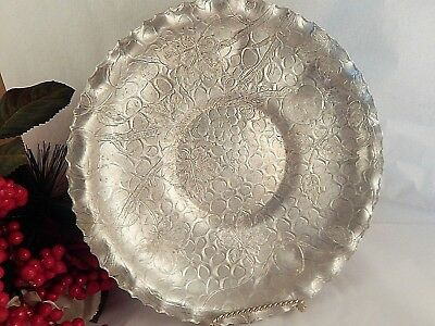 """Serving Tray Designed Aluminum Hammered 9"""" Round Dish Vintage 1950s Collectible"""